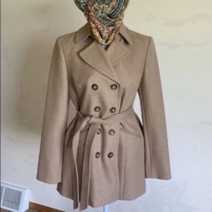 Ann Taylor Classic Tan wool trench coat small